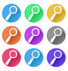 Search or find icons set of colored signs vector