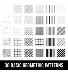 set basic geometric patterns memphis style vector image