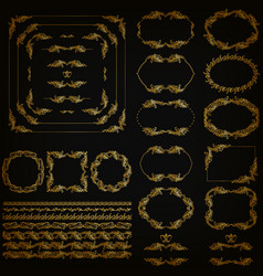 Set of gold decorative hand-drawn floral elements vector