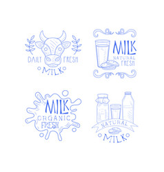 set sketch labels for dairy production vector image