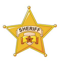 Sheriff gold star icon cartoon style vector