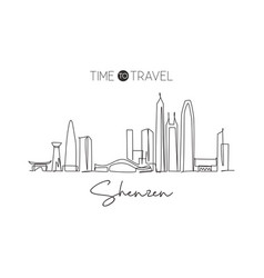 single continuous line drawing shenzhen city vector image