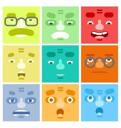 Smiles Set Avatar Emotions Happy Surprised vector image