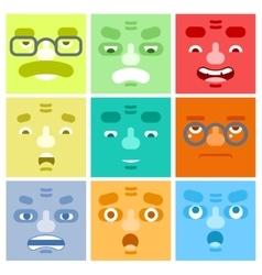 Smiles set avatar emotions happy surprised vector
