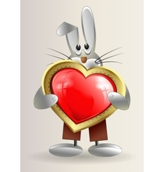 sneaky little Bunny holds in hands red heart vector image