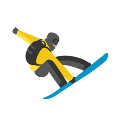 snowboarder jump in pose people vector image