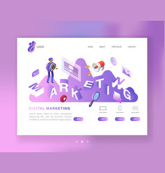 social media marketing isometric landing page vector image
