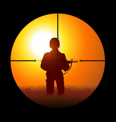 Soldier being targeted a sniper vector