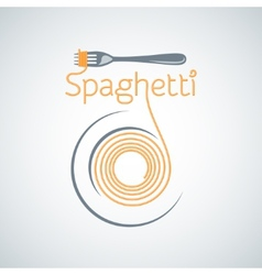 Spaghetti pasta plate fork background vector