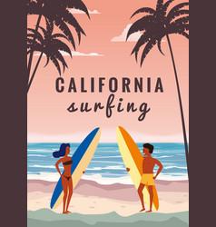 Surfers man and woman couple on beach coast vector