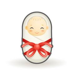 swaddled newborn cute smiling happy sleeping baby vector image