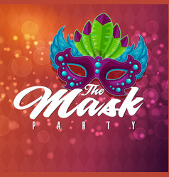 the mask party mask red background image vector image