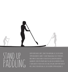 Three men with stand up paddle boards and vector
