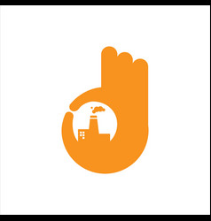 thumbs up for good factory logo design sign symbol vector image