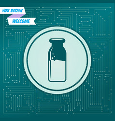 traditional bottle of milk icon on a green vector image