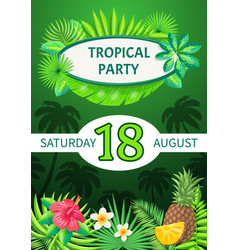 Tropical party theme banner summer placard vector