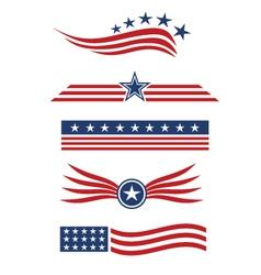 USA star flag logo design elements vector