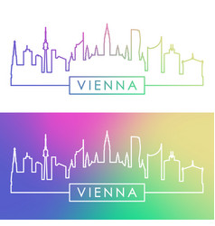 Vienna skyline colorful linear style vector