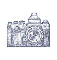 Vintage old photo camera logo hand drawn vector