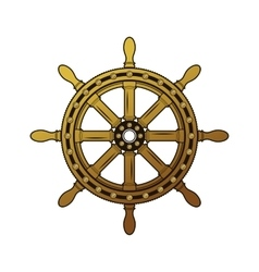 Vintage ship helm logo old-fashioned rough vector
