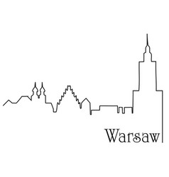 warsaw city one line drawing background vector image vector image