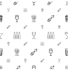 Wine icons pattern seamless white background vector