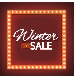 Winter sale with red lights vector image