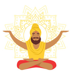 Yogi man in yoga lotus pose and with arms raised vector