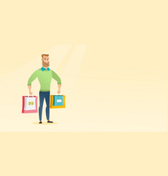 Young happy caucasian man with shopping bags vector