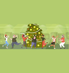 Young people having fun near christmas tree merry vector
