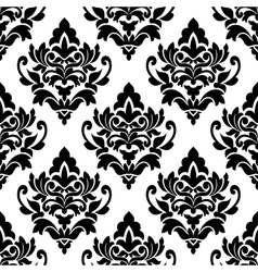 Black floral seamless pattern in damask style vector