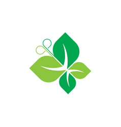 butterfly green leaves and ecology logo vector image vector image