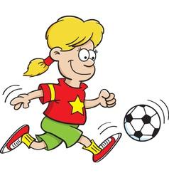 Cartoon Girl Playing Soccer vector image