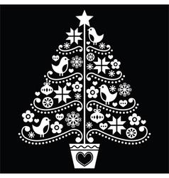 Christmas tree design - folk style on black vector image