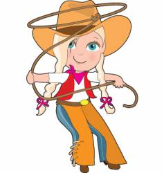 cowgirl kid vector image