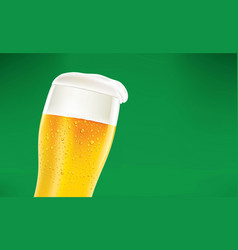 frosty glass of beer with foam on green background vector image vector image