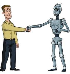 handshake man and robot vector image vector image