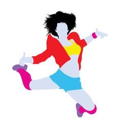Happy Hip Hop Dancer Silhouette vector image vector image