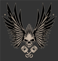 Skull Wings and Crossed Pistons vector image vector image