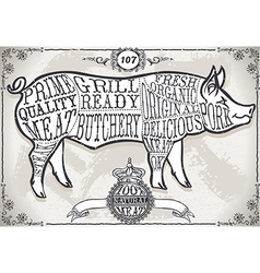 Vintage Page with Cut of Pork vector image