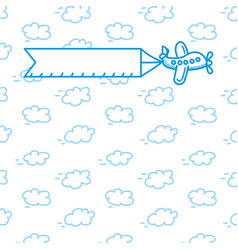 airplane with a poster in the clouds vector image vector image