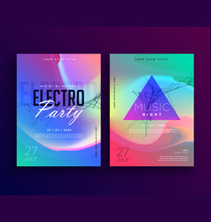 electro music colorful party event flyer template vector image
