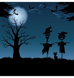 Halloween landscape with scarecrows vector image