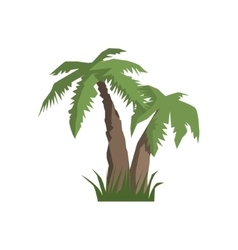 Two palm trees jungle landscape element vector