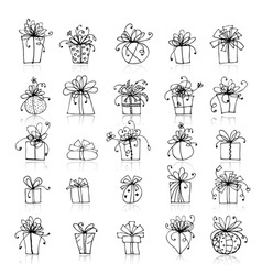 25 gift box icons for your design vector image
