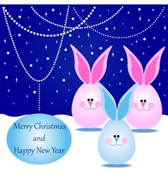 Card with Rabbits for Merry Christmas vector image