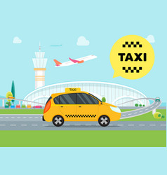 cartoon airport taxi service car vector image