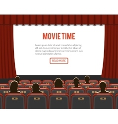 cinema auditorium with seats and audience vector image vector image