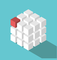 cube assembled of blocks vector image
