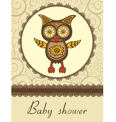 Owl baby shower vector image vector image
